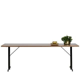 Tisch in Nussbaumfarben T-Gestell aus Metall