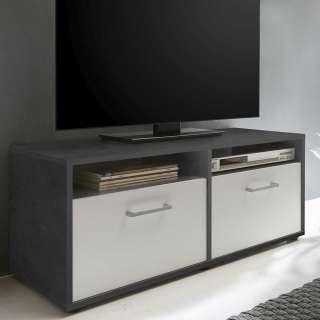 Fernsehmöbel in Weiß und Dunkelgrau 95 cm breit