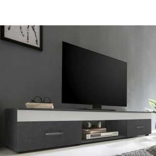 TV Sideboard in Weiß und Dunkelgrau 160 cm breit