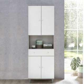 Badezimmerschrank in Beton Grau und Weiß 60 cm breit