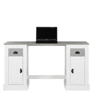 Echtholz Schreibtisch in Weiß und Grau Landhausstil
