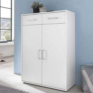 Weißer Aktenschrank mit zwei Schubladen zwei Türen
