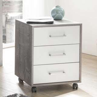 Schreibtischrollcontainer in Beton Grau und Weiß drei Schubladen