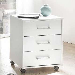Büro Rollcontainer in Weiß drei Schubladen
