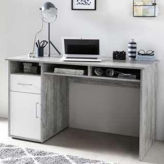 Büroschreibtisch in Beton Grau und Weiß 125 cm breit