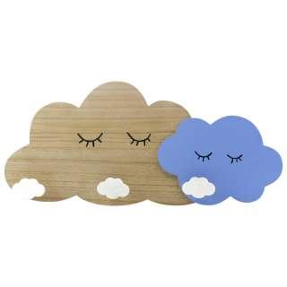 GARDEROBENLEISTE Kiefer Blau, Naturfarben, Weiß