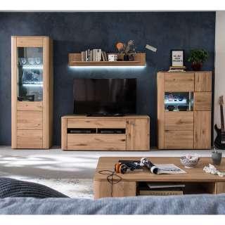 TV Wohnwand in Eiche Bianco massiv 325 cm breit (4-teilig)
