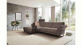 DELIFE Sofa Dardo Grau 140x73 cm Akazie Natur massiv abgesteppt, 2 & 3 Sitzer