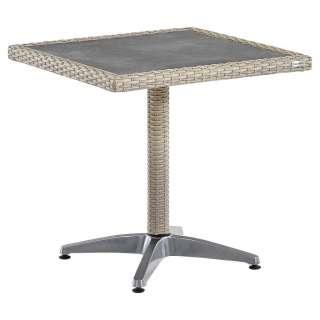 GARTENTISCH Metall, Kunststoff, Glas Grau, Alufarben, Beige