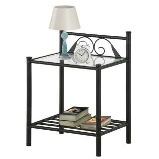 Nachttisch in Schwarz Metall Glasplatte