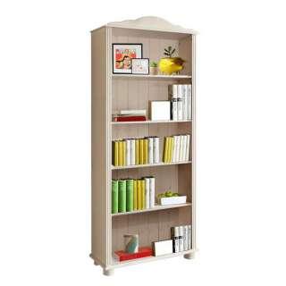 Landhaus Bücherregal in Weiß lasiert Kiefer Massivholz