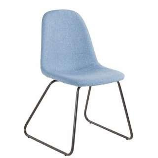 Esstisch Stühle in Hellblau Webstoff Metallbügeln (Set)