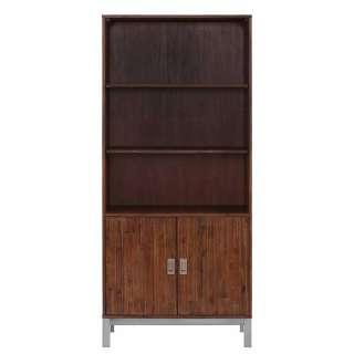 Bücherregal aus Akazie Massivholz zwei Türen