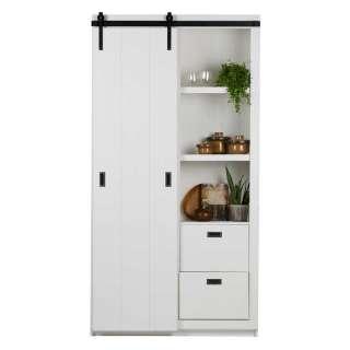 Wohnzimmervitrinenschrank in Weiß Kiefer teilmassiv Skandi Design