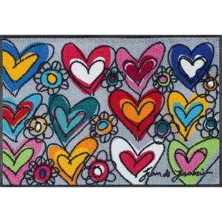 FUßMATTE 50/75 cm Herz Multicolor