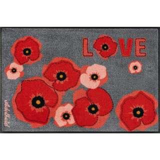 FUßMATTE 50/75 cm Blume Grau, Rot