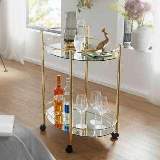 Runder Servierwagen in Goldfarben Spiegelglas-Platte