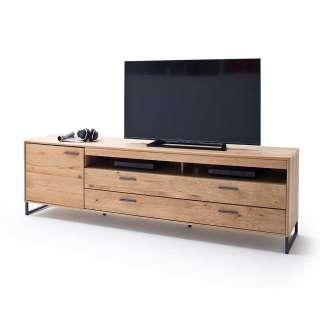 Fernsehboard in Eiche Bianco Tür und zwei Schubladen