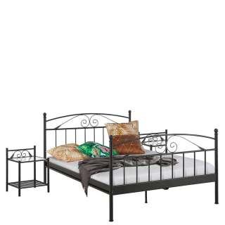Niedriges Bett in Schwarz Metall Vintage Design (3-teilig)