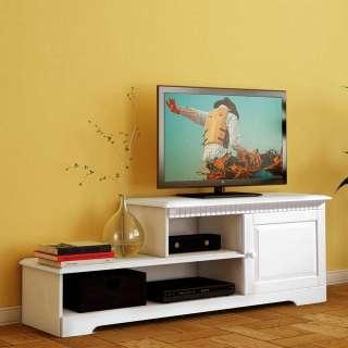 TV Möbel in Weiß Kiefer Massivholz