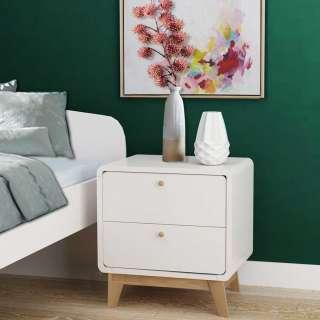 Nachtschrank in Weiß und Holz Naturfarben Skandi Design (2er Set)