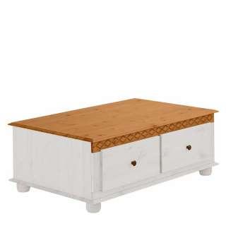 Massivholz Sofatisch in Weiß und Honigfarben Landhaus Design