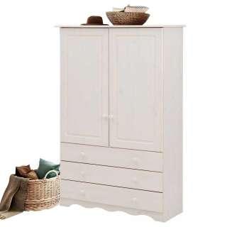 Wäscheschrank in Weiß lasiert Kiefer Massivholz