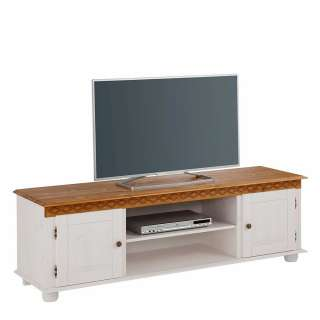 Fernseh Unterschrank in Weiß und Honigfarben Kiefer Massivholz