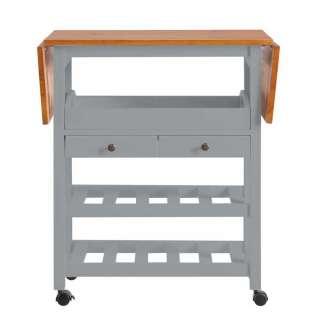 Küchenwagen in Grau Kiefer massiv klappbarer Tischplatte