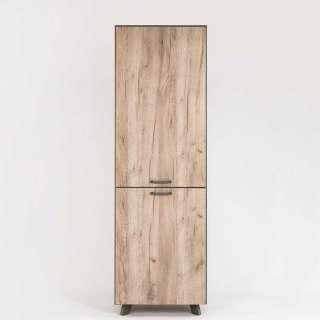 Garderobenschrank in Eiche Grau Optik und Anthrazit 60 cm breit