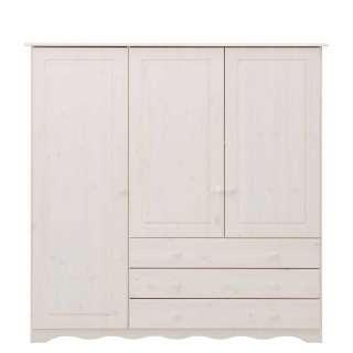 Massivholz Wäscheschrank in Weiß lackiert 140 cm breit
