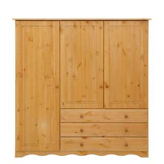 Landhaus Wäscheschrank aus Kiefer Massivholz 140 cm breit