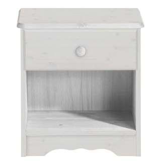 Nachttischkommode in Weiß lasiert Kiefer Massivholz
