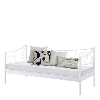 Einzelbettgestell in Weiß Metall Vintage Design