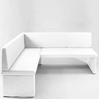 Esszimmer Eckbank in Weiß Kunstleder 200 cm breit