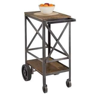 Rustikaler Küchenwagen in Anthrazit Mangobaum Massivholz und Metall