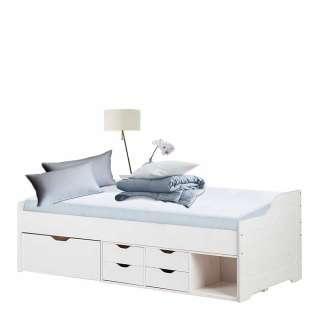 Holzbett in Weiß lasiert Schubladen