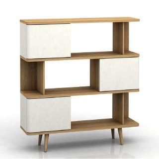 Raumteiler Regal in Weiß und Eichefarben Skandi Design