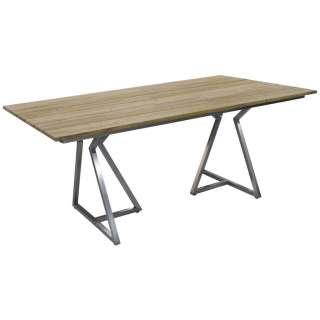 GARTENTISCH Holz, Metall Silberfarben, Teakfarben
