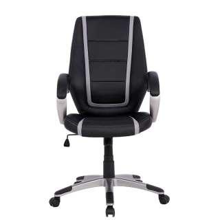 Armlehnen Bürostuhl in Schwarz Grau Kunstleder höhenverstellbar