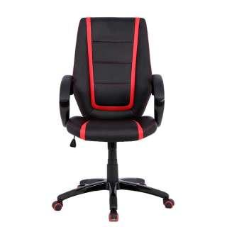 Schreibtisch Chefsessel in Schwarz und Rot hoher Lehne