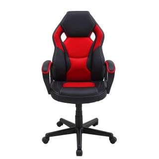 Schreibtischdrehstuhl in Rot und Schwarz Lendenwirbelstütze