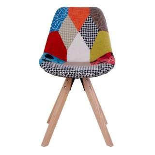 Schalen Esszimmerstühle in Bunt Patchwork Optik Massivholzgestell (2er Set)