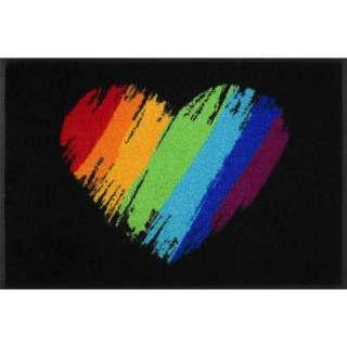 FUßMATTE 50/75 cm Herz Multicolor, Schwarz