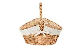 Picknickkorb ¦ holzfarben ¦ Leinen, Weide ¦ Maße (cm): B: 33 H: 32 T: 25 Aufbewahrung > Körbe - Höffner