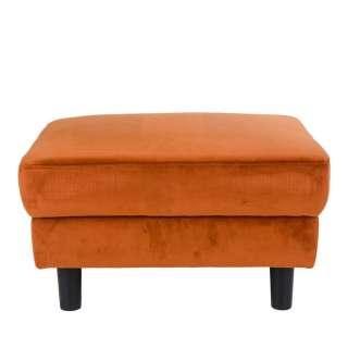 Sofahocker in Orange Samt Skandi Design