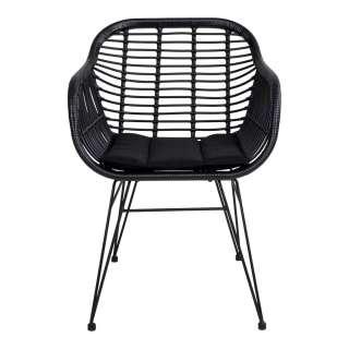 Esszimmerstühle in Schwarz Rattan Polsterauflage (2er Set)