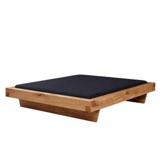 Dachschrägen Bett aus Wildeiche Massivholz Schwebesockel