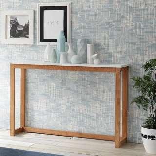 Tischkonsole in Weiß Eiche teilmassiv 110 cm breit