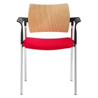 Armlehnstuhl in Rot und Buchefarben Made in Germany